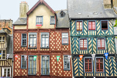 Rennes. (Ille-et-Vilaine, Brittany, France) - Exterior of ancient half-timbered buildings Royalty Free Stock Photo