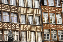 Rennes. (Ille-et-Vilaine, Brittany, France) - Exterior of ancient half-timbered buildings Stock Image