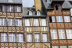 Rennes. (Ille-et-Vilaine, Brittany, France) - Exterior of ancient half-timbered buildings Stock Photos