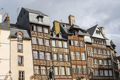 Rennes. (Ille-et-Vilaine, Brittany, France) - Exterior of ancient half-timbered buildings Royalty Free Stock Photos
