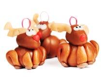 Rennes d'argile de polymère, décoration de Noël Photographie stock libre de droits