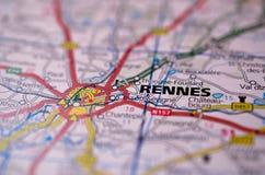 Rennes en mapa Fotografía de archivo