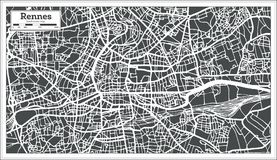 Rennes France City Map in Retro Style. Outline Map. Royalty Free Stock Photo