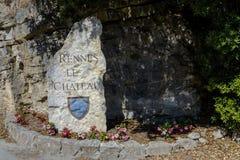 Rennes LE Chateau Village σημάδι, Γαλλία Στοκ Εικόνες