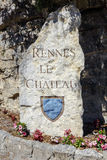 Rennes le Chateau Village Sign, France. Rennes le Chateau Village stone sign at the entrance, France Royalty Free Stock Photography