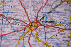 Rennes on map. Macro shot of Rennes on map Royalty Free Stock Images