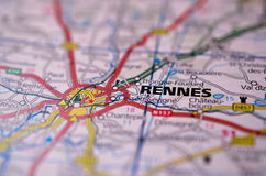 Rennes on map. Macro shot of Rennes on map Stock Photography