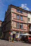 Rennes - old town center. Restaurant in a ancient half timbered house in Rennes, Brittany (Bretagne), France, in his old town center Stock Image