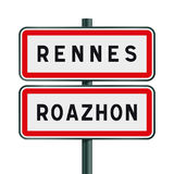 Rennes road signs entrance Royalty Free Stock Photography