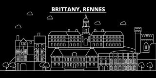 Rennes silhouette skyline. France - Rennes vector city, french linear architecture, buildings. Rennes travel vector illustration