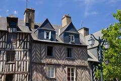 Rennes - vecchio centro edificato Fotografie Stock