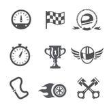 Rennikonen eingestellter Geschwindigkeitsmesser, Sturzhelm und Cup, gewinnendes Ende, Flagge und Geschwindigkeitswettbewerb, Vekt Lizenzfreie Stockbilder