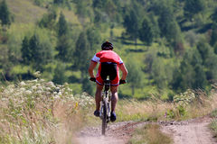 Rennläufermountainbikefahrt vom Berg Lizenzfreie Stockfotos