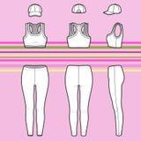 Rennläuferspitze, -kappe und -jeans eingestellt stock abbildung