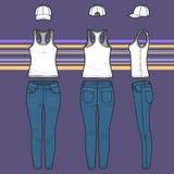 Rennläuferspitze, -kappe und -jeans eingestellt lizenzfreie abbildung