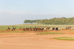 Rennpferd-Jockeys, die Landschaft ausbilden Stockbild