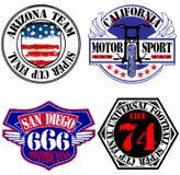 Rennradfahrer-Garagen-Reparatur-Service-Embleme und Motorradfahren-Verein-Turnier Vektor Abbildung