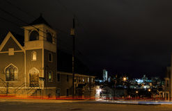 Rennsaeler NY USA - Street corner at night overlooking Albany at Christmastime. Royalty Free Stock Images
