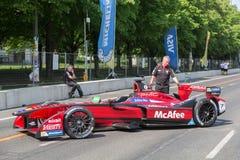 Rennwagen McAfee-Formel E auf Boxengasse lizenzfreies stockbild