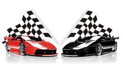 Rennwagen und Flaggen des Vektors zwei Stockfoto