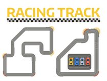 Rennwagensportumlenkungs-Straßenvektor Draufsicht von Autosportwettbewerbs-Erbauersymbolen Stromkreistransport lizenzfreie stockbilder
