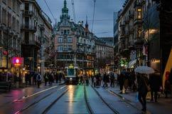 Rennweg-电车驻地在苏黎世 都市风景 库存图片