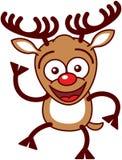 Reno agradable de Navidad que agita animatedly ilustración del vector