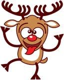 Reno agradable de Navidad que hace caras divertidas stock de ilustración