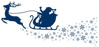 Reno azul marino del trineo uno de la Navidad con los copos de nieve libre illustration