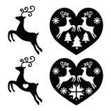 Reno, ciervo que salta, iconos de la Navidad fijados Foto de archivo