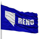 Reno City Flag on Flagpole, USA Stock Photo