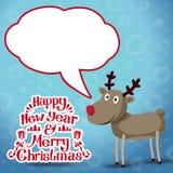 Reno con la burbuja del discurso, Feliz Año Nuevo y Imágenes de archivo libres de regalías