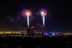 RENO - 4 DE JULHO: Os fogos-de-artifício da pepita mostram como parte do 4o de Imagem de Stock Royalty Free