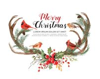 Reno de la asta de la acuarela con la Navidad de los pájaros ilustración del vector