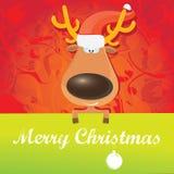 Reno de la Navidad del vector que sostiene la bandera verde Imagen de archivo libre de regalías