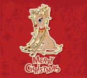 Reno de la Navidad enredado en guirnalda stock de ilustración