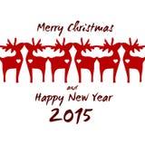 Reno de la Navidad - tarjeta de felicitación 2015 Fotografía de archivo