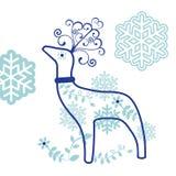 Reno decorativo con los copos de nieve ilustración del vector