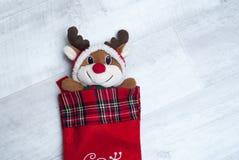 Reno del juguete de la felpa en un calcetín de la Navidad en fondo de madera, Foto de archivo
