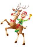 Reno del montar a caballo del duende con la campana de la Navidad aislada Imagen de archivo