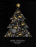 Reno del shilouette de Navidad del árbol del oro de la Feliz Navidad Imagen de archivo libre de regalías