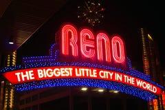 Reno Downtown Biggest Little City im Weltzeichen lizenzfreie stockbilder
