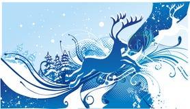 reno en fondo del invierno Imagenes de archivo
