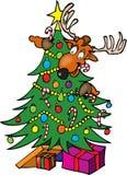 Reno en un árbol de navidad Imagenes de archivo