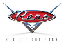 Reno Hot August Nights Classic Car Show. Art Logo vintage automobile V8 chrome badge royalty free illustration