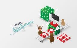 Reno isométrico y regalo de la Feliz Navidad libre illustration