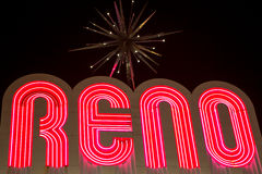 Reno made of night light neons letters at night. The biggest little city in the world located in the state of Nevada in the United States stock photo