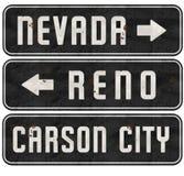 Reno Nevada Carson City Street Signs Grunge. NV Metal Retro Vintage Highway Directional Ponderosa vector illustration
