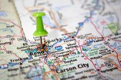 Reno, Nevada. A map of Reno, Nevada marked with a push pin royalty free stock image