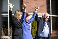 RENO, NV - October 25, 2018 - Bernie Sanders, Jacky Rosen and Ka stock images